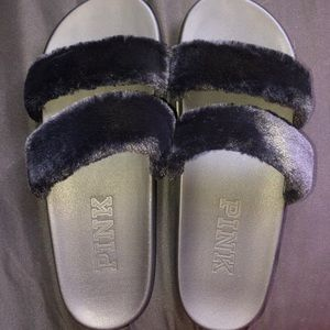 PINK Victoria secret faux double strap slides